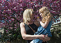 05/05/16 <br /> <br /> Lisa Whitsed with daughter, Lucia Pryme (6).<br /> <br /> Taking a stroll and enjoying an ice-cream under a cherry blossom tree in the May sunshine at Matlock Bath, in the Derbyshire Peak District<br /> All Rights Reserved: F Stop Press Ltd. +44(0)1335 418365   +44 (0)7765 242650 www.fstoppress.com