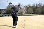 WILMINGTON, NC - MARCH 19: Kent State's Bjarki Petursson (ISL) hits an approach to the island green on the Ocean Course eighth hole. The first round of the 2017 Seahawk Intercollegiate Men's Golf Tournament was held on March 19, 2017, at the Country Club of Landover Nicklaus Course in Wilmington, NC.