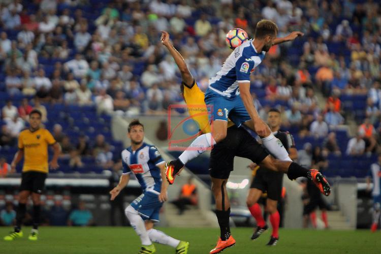 League Santander 2016/2017. Game: 2.<br /> RCD Espanyol vs Malaga CF: 2-2.<br /> Roberto Rosales vs Leo Baptistao.