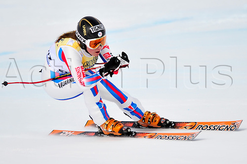 January 30, 2010: Marine Gauthier of France during the downhill portion of the Women's FIS Ski World Cup race in St. Moritz, Switzerland. Photo: CalSports/Actionplus - Editorial Use....