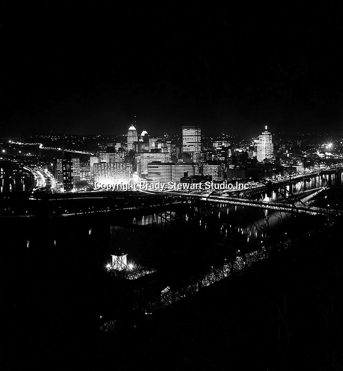 Pittsburgh PA:  View of the City of Pittsburgh on Light-up Night - 1977