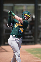Oakland Athletics outfielder Greg Deichmann (16) on deck during an Extended Spring Training game against the San Francisco Giants Orange at the Lew Wolff Training Complex on May 29, 2018 in Mesa, Arizona. (Zachary Lucy/Four Seam Images)