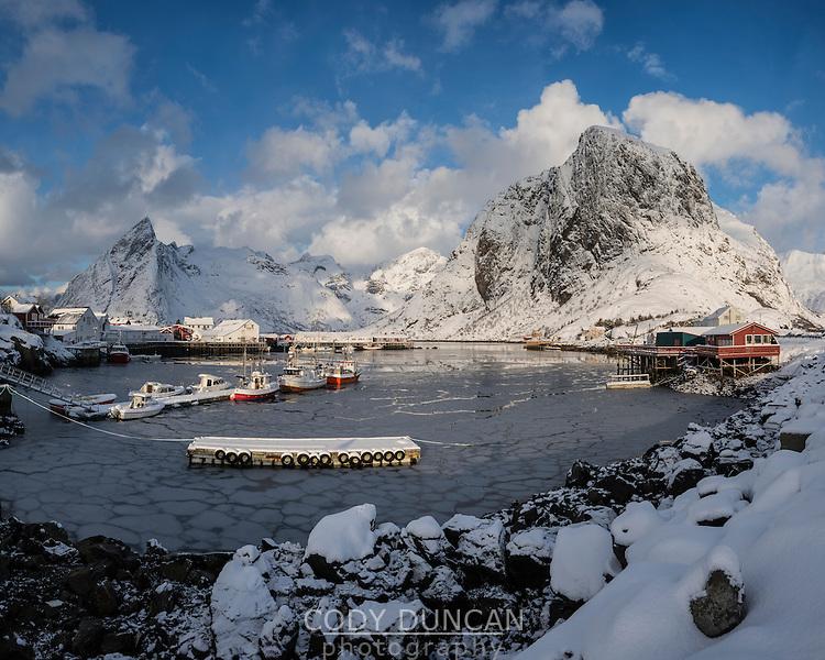 Frozen harbor at Hamnøy in winter, Moskenesøy, Lofoten Islands, Norway