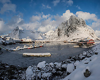 Frozen harbor at Hamnøy in winter, Moskenesøy, Lofoten Islands, Norway