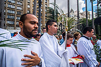 Cardinals during the Palm Sunday celebrations at Cathedral of Sé im são Paulo on April 9, 2017 in Brazil. On Palm Sunday Christians celebrate Jesus' arrival into Jerusalem, where he was put to death. It marks the official beginning of Holy Week during which Christians observe the death of Christ before celebrations begin on Easter.Sao Paulo, 09.04.2017