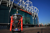 Picture by Simon Wilkinson/SWpix.com -  28/01/2019 - Rugby League World Cup 2021 - RLWC 2021- Host Venue announcement. The Rugby League World Cup Trophy pictured outside Old Trafford Manchester the home of Manchester United Football Club. The Theatre of Dreams will host the final of the Rugby League World Cup in 2021