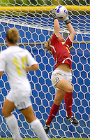 Florida International University Golden Panthers against Stetson at Miami, Florida on Sunday, September 23, 2007.  The Golden Panthers won, 2-1...FIU senior goal keeper Madeline Gannon (Fort Myers, Fla.) (1) records a save in the first half.