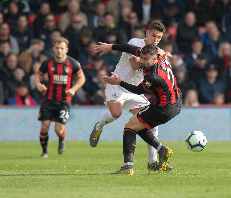 Bournemouth's Diego Rico (right) is tackled by Burnley's Ashley Westwood (left) <br /> <br /> Photographer David Horton/CameraSport<br /> <br /> The Premier League - Bournemouth v Burnley - Saturday 6th April 2019 - Vitality Stadium - Bournemouth<br /> <br /> World Copyright © 2019 CameraSport. All rights reserved. 43 Linden Ave. Countesthorpe. Leicester. England. LE8 5PG - Tel: +44 (0) 116 277 4147 - admin@camerasport.com - www.camerasport.com