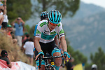 White Jersey Miguel Angel Lopez Moreno (COL) Astana Pro Team crosses the finish line in 3rd place at the end of Stage 7 of La Vuelta 2019 running 183.2km from Onda to Mas de la Costa, Spain. 30th August 2019.<br /> Picture: Colin Flockton | Cyclefile<br /> <br /> All photos usage must carry mandatory copyright credit (© Cyclefile | Colin Flockton)