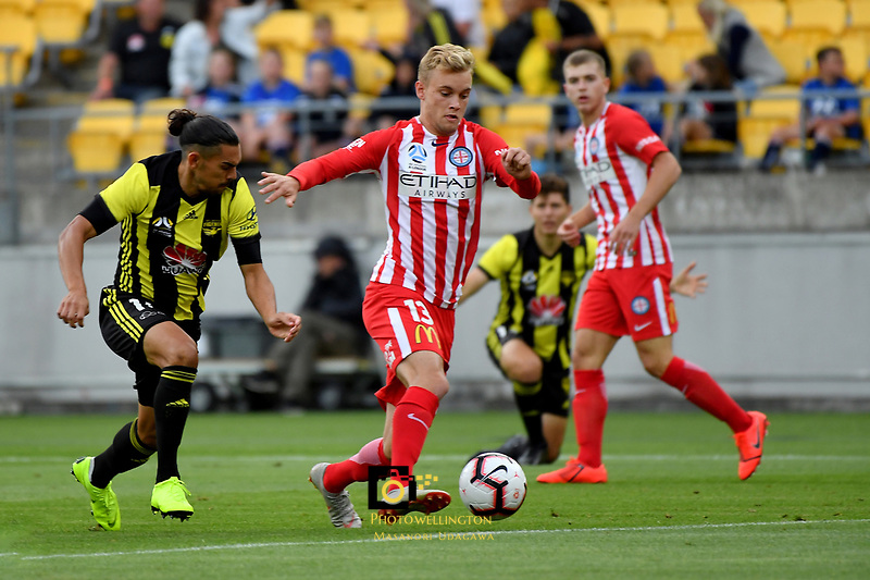 Melbourne City's Nathaniel Atkinson in action during the A League - Wellington Phoenix v Melbourne City FC at Westpac Stadium, Wellington, New Zealand on Saturday 26 January 2019. <br /> Photo by Masanori Udagawa. <br /> www.photowellington.photoshelter.com