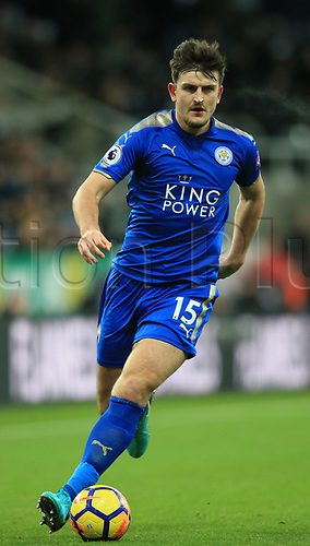 9th December 2017, St James Park, Newcastle upon Tyne, England; EPL Premier League football, Newcastle United versus Leicester City; Harry Maguire of Leicester City with the ball