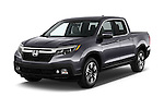 2017 Honda Ridgeline RTL-T 4 Door Pick-up Angular Front stock photos of front three quarter view