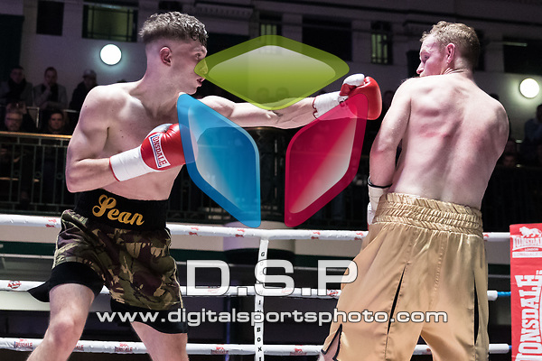 Sean Robinson vs William Warburton 6x3 - Middleweight Contest During Goodwin Boxing - Venom. Photo by: Simon Downing.<br /> <br /> Saturday March 3rd 2018 - York Hall, Bethnal Green, London, United Kingdom.