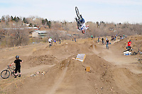 BMX Dirt jumping at Sunset Trails in Lakewood, Colorado on March 1, 2009.