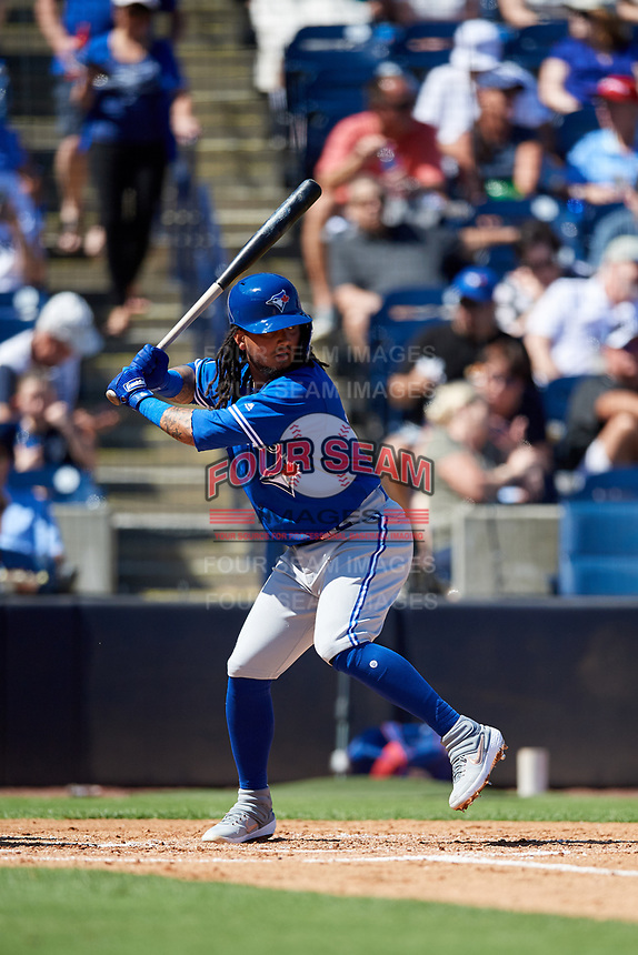 Toronto Blue Jays shortstop Freddy Galvis (16) at bat during a Grapefruit League Spring Training game against the New York Yankees on February 25, 2019 at George M. Steinbrenner Field in Tampa, Florida.  Yankees defeated the Blue Jays 3-0.  (Mike Janes/Four Seam Images)
