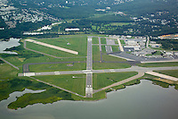 Groton-New London Airport Aerial View. View West Northwest, Runway 33 Approach.