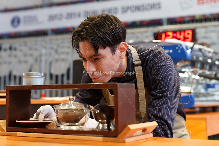 MELBOURNE, AUSTRALIA - MAY 23 Roberto Pablo Caldas Portugal  from Peru in action on day one of the 2013 World Barista Championship at the Melbourne Showgrounds, Australia. Photo Sydney Low / syd-low.com