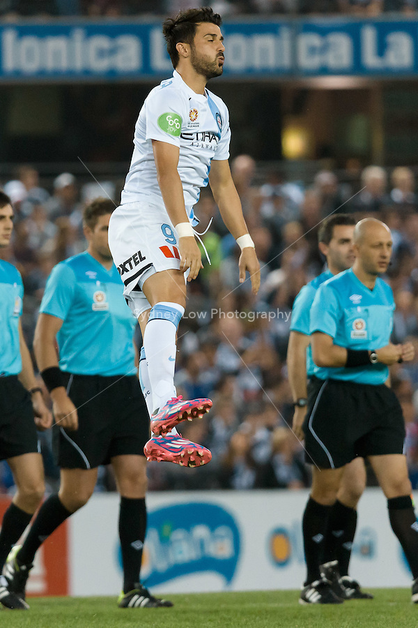 MELBOURNE 25 Oct 2014 – Spanish player David VILLA of Melbourne City warms up in the round 3 match between Melbourne Victory and Melbourne City in the Australian Hyundai A-League 2014-15 season at Etihad Stadium, Melbourne, Australia.