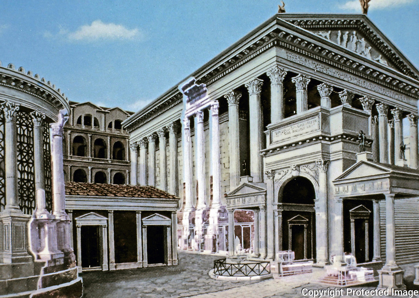 Artists depiction juxtaposing extant ruins with original Temple of Castor and Pollux, Roman Forum, Rome Italy.