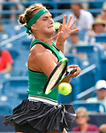 August 18,2018:   Aryna Sabalenka (BLR) loses to Simona Halep (ROU) 6-3, 6-4, at the Western & Southern Open being played at Lindner Family Tennis Center in Mason, Ohio.  ©Leslie Billman/Tennisclix/CSM