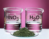 SOLUBILITY: NICKEL OXIDE, NITRIC ACID &amp; WATER<br /> (1 of 2)<br /> Beakers of HNO3 &amp; H2O and Solid NiO<br /> Nickel Oxide (NiO) -insoluble in H2O- reacts with HNO3 to yield Nickel(ii) Nitrate Ni(NO3)2 &amp; a weak electrolyte (H2O)