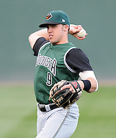Infielder Adam Duvall (9) of the Augusta GreenJackets, Class A affiliate of the San Francisco Giants, in a game against the Greenville Drive on April 7, 2011, at Fluor Field at the West End in Greenville, South Carolina. (Tom Priddy / Four Seam Images)