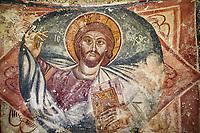 Picture & image the interior medieval frescoes of Christ Pantocrator in Khobi Georgian Orthodox Cathedral, 13th century,  Khobi Monastery, Khobi, Georgia.
