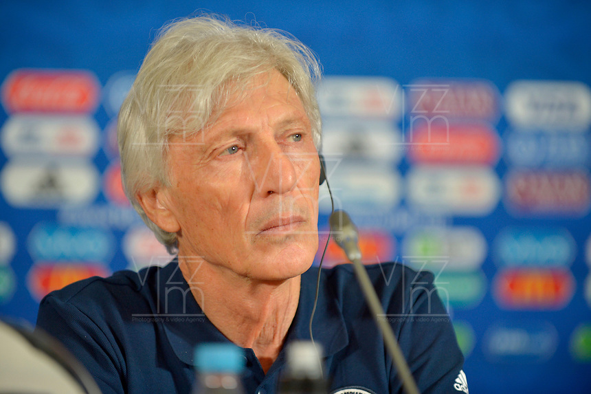 KAZAN - RUSIA, 23-06-2018: Jose PEKERMAN tércnico de Colombia, durante rueda de prensa en Kazan Arena previo al encuentro del Grupo H  con Polonia como parte de la Copa Mundo FIFA 2018 Rusia. / Jose PEKERMAN coach of Colombia during press conference in Kazan Arena prior the group H match with Poland as part of the 2018 FIFA World Cup Russia. Photo: VizzorImage / Julian Medina / Cont