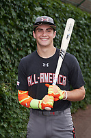 Garrett Mitchell (5) of Orange Lutheran High School in Anaheim, California poses for a photo before the Under Armour All-American Game presented by Baseball Factory on July 23, 2016 at Wrigley Field in Chicago, Illinois.  (Mike Janes/Four Seam Images)