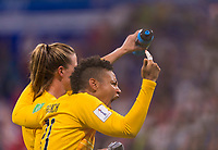 LYON,  - JULY 2: Alyssa Naeher #1 celebrates with Adrianna Franch #21 during a game between England and USWNT at Stade de Lyon on July 2, 2019 in Lyon, France.