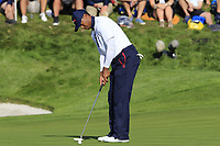 Tiger Woods (Team USA) putts on the 11th green during Saturday's Foursomes Matches at the 2018 Ryder Cup 2018, Le Golf National, Ile-de-France, France. 29/09/2018.<br /> Picture Eoin Clarke / Golffile.ie<br /> <br /> All photo usage must carry mandatory copyright credit (© Golffile | Eoin Clarke)