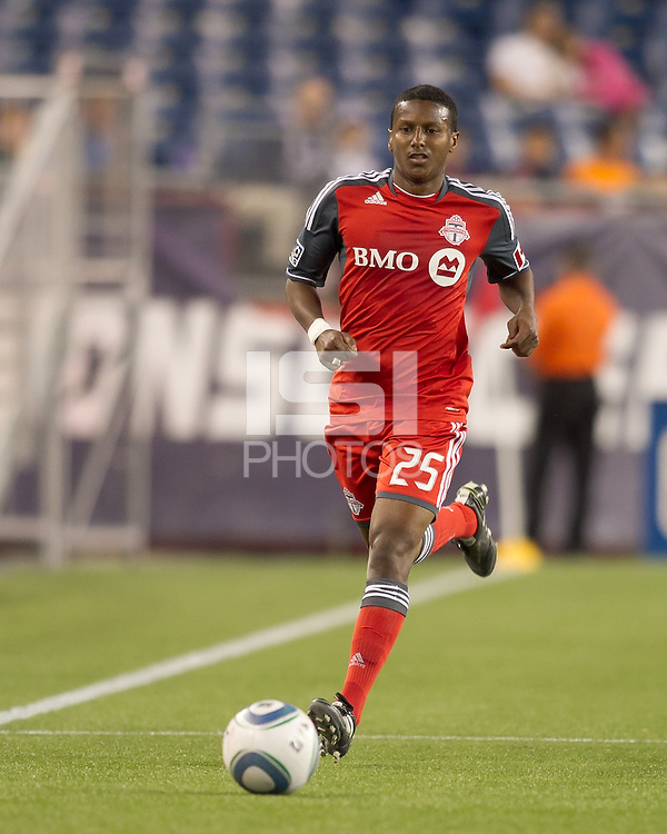 Toronto FC defender Danleigh Borman (25) at midfield. In a Major League Soccer (MLS) match, the New England Revolution tied Toronto FC, 0-0, at Gillette Stadium on June 15, 2011.