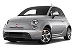 Stock pictures of low aggressive front three quarter view of 2017 Fiat 500e Battery-Electric 5 Door Hatchback Low Aggressive