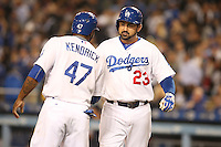 05/26/15 Los Angeles, CA: Los Angeles Dodgers first baseman Adrian Gonzalez #23 during an MLB game played at Dodger Stadium between the Los Angeles Dodgers and the Atlanta Braves. The Dodgers defeated the Braves 8-0.