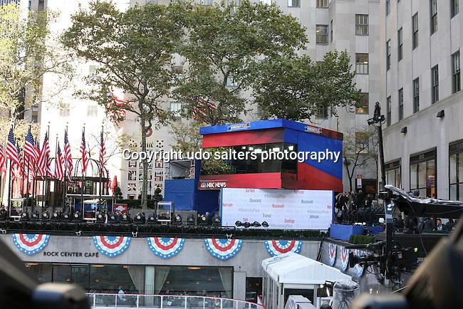 United States Election Day Willard Mitt Romney  vs President Barack Obama at NBC New's Democracy Plaza at Rockefeller Center, NY 11/6/12