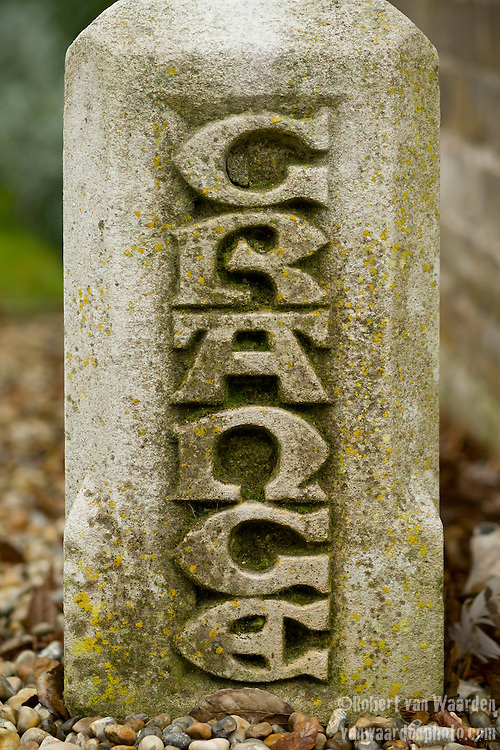 A stone with the word Grange carved into it at Ramsgate, the United Kingdom. The Grange is a building belonging to the Landmark Trust, a United Kingdom building preservation charity that rescues historic buildings at risk and gives them a new life as places to stay in and experience.