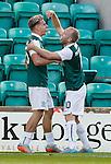 Jason Cummings celebrates his goal with Dylan McGeough