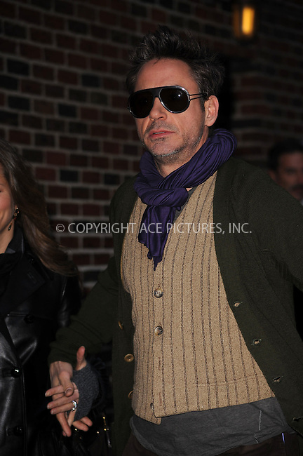 WWW.ACEPIXS.COM . . . . . ....December 16 2009, New York City....Actor Robert Downey Jr made an appearance at 'The Late Show with David Letterman' on December 16 2009 in New York City....Please byline: KRISTIN CALLAHAN - ACEPIXS.COM.. . . . . . ..Ace Pictures, Inc:  ..(212) 243-8787 or (646) 679 0430..e-mail: picturedesk@acepixs.com..web: http://www.acepixs.com