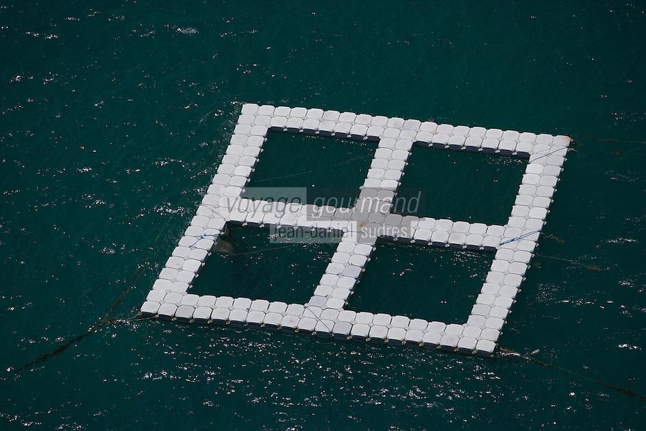 France/DOM/Martinique/env Le Vauclin: sur la cote ouest Aquaculture dans l'océan