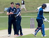 Cricket Scotland - Scotland V Sri Lanka at Kent County cricket ground at Benkenham, in the first of two matches this week, on Sunday (today) and Tuesday - picture shows Chris Sole, who took two wickets in the match, celebrating with stand—in skipper Con de Lange - picture by Donald MacLeod - 21.05.2017 - 07702 319 738 - clanmacleod@btinternet.com - www.donald-macleod.com