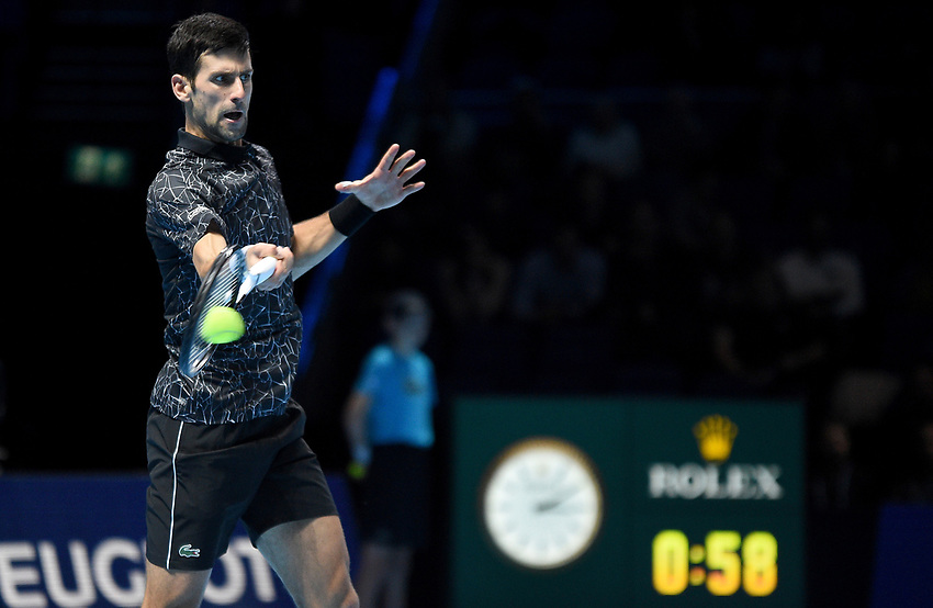 Novak Djokovic in action against Alexander Zverev<br /> <br /> Photographer Hannah Fountain/CameraSport<br /> <br /> International Tennis - Nitto ATP World Tour Finals Day 4 - O2 Arena - London - Wednesday 14th November 2018<br /> <br /> World Copyright © 2018 CameraSport. All rights reserved. 43 Linden Ave. Countesthorpe. Leicester. England. LE8 5PG - Tel: +44 (0) 116 277 4147 - admin@camerasport.com - www.camerasport.com