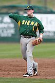 February 21, 2010:  Shortstop Andrew Sawyer (1) of the Siena Saints during a game at Melching Field at Conrad Park in DeLand, FL.  Siena lost to Stetson by the score of 8-7.  Photo By Mike Janes/Four Seam Images