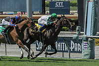 ARCADIA, CA. JUNE 17: #4 Sircat Sally ridden by Mike Smith holds off #5 Beau Recall ridden by Joseph Talamo to win the Honeymoon Stakes (Grade ll) on June 17, 2017 at Santa Anita Park in Arcadia, CA(Photo by Casey Phillips/Eclipse Sportswire/Getty Images)