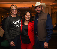 PASADENA, CA - JANUARY 17: Heartland Docs, DVM's Dr. Erin Schroeder (L) and Ben Schroeder (R), and SVP, Development & Production NG WILD Janet Han Vissering (C) attend the National Geographic 2020 TCA Winter Press Tour Party at the Langham Huntington on January 17, 2020 in Pasadena, California. (Photo by Frank Micelotta/National Geographic/PictureGroup)