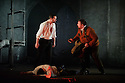 """London, UK. 09.03.2016. English Touring Opera presents """"Don Giovanni"""", by Wolfgang Amadeus Mozart, at the Hackney Empire.  Directed by Lloyd Wood, with set & costume design by Anna Fleischle and lighting design by Guy Hoare. Picture shows:  Tim Dawkins (Il Commendatore), George von Bergen (Don Giovanni), Matthew Stiff (Leporello). Photograph © Jane Hobson."""