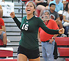 Sophie Dandola #16 of Seaford reacts after he team won a point in a Nassau County varsity girls volleyball match against host Mineola High School on Thursday, Sept. 22, 2016. She recorded 18 kills and nine aces in Seaford's 3-1 win.