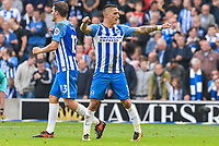 Anthony Knockaert of Brighton & Hove Albion (11) Celebrates scoring his sides opening goal during the Premier League match between Brighton and Hove Albion and Everton at the American Express Community Stadium, Brighton and Hove, England on 15 October 2017. Photo by Edward Thomas / PRiME Media Images.