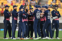 England players celebrate the DRS decision on the wicket of Blackcaps batsman Tom Latham off the bowling of Moeen Ali during the Third ODI game between Black Caps v England, Westpac Stadium, Wellington, Saturday 03rd March 2018. Copyright Photo: Raghavan Venugopal / © www.Photosport.nz 2018