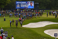 The press is gathered on 18 for photos and interviews of Brooks Koepka (USA) for winning the 100th PGA Championship at Bellerive Country Club, St. Louis, Missouri. 8/12/2018.<br /> Picture: Golffile | Ken Murray<br /> <br /> All photo usage must carry mandatory copyright credit (&copy; Golffile | Ken Murray)