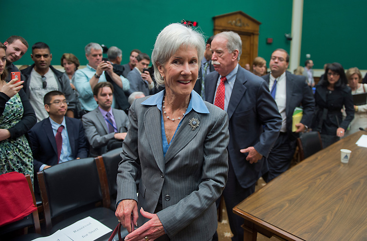 UNITED STATES - OCTOBER 30: HHS Secretary Kathleen Sebelius leaves a House Energy and Commerce Committee hearing in Rayburn Building after testifying on the failures of Affordable Care Act's enrollment website. (Photo By Tom Williams/CQ Roll Call)